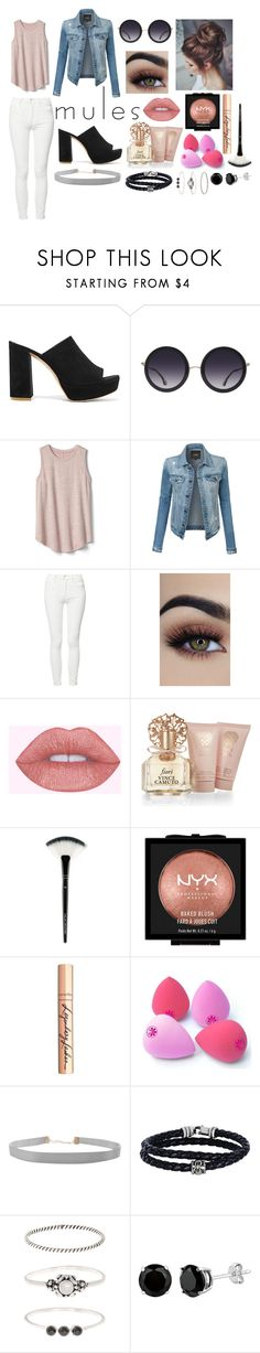"""""""Mules-Contest-Makeup-MessyBun-Pastel"""" by pastel-punk-teen ❤ liked on Polyvore featuring Mansur Gavriel, Alice + Olivia, Gap, LE3NO, Mother, Vince Camuto, NYX, Charlotte Tilbury, Humble Chic and Phillip Gavriel"""