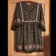 Altar'd State Green Floral Peasant Dress Excellent used condition. Perfect boho wear for spring and summer. Fit & flare. 35 inch length. 3/4 bell sleeves. Pull on. 100% rayon. Hand wash. Crochet waist detailing. V-neck neckline. Altar'd State Dresses