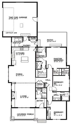 1000 images about house on pinterest floor plans for Narrow house plans with garage in back