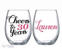 Cheers to 30 years - 30th birthday gift for women - wine glass name included…