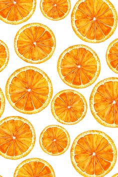 Hand-painted bright orange slices on white background by svetlana_prikhnenko. This watercolor painting of summer oranges is available on fabric, wallpaper, and gift wrap.