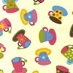 Lesley Grainger Metro Cafe Mugs Cream Fabric  by luckykaerufabric, $7.75