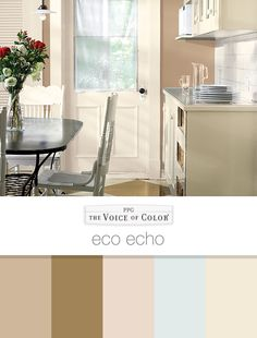 Eco Echo Paint Color Trends and Paint Collections: PPG Voice of Color® presents the Eco Echo color story. Check out this paint color collection as well as our other paint color palettes for color inspiration and preselected complementary paint colors.
