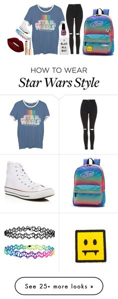 """""""Funky"""" by dark-jewel on Polyvore featuring Junk Food Clothing, Topshop, Converse, Accessorize, Vans, Lime Crime and Charlotte Tilbury"""