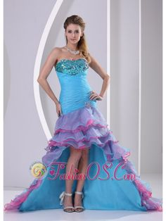 Buy custom made muti color high low mermaid prom gown dress for summer from most popular prom dresses shop, sweetheart neckline column/sheath prom high low prom formal evening dress with lace up and . Colorful Prom Dresses, Unique Prom Dresses, Prom Dresses Online, Prom Dresses Blue, Dama Dresses, Dresses 2013, Amazing Dresses, Bride Dresses, Dress Online