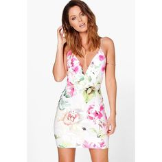 Boohoo Night Amelie Deep Plunge Low Back Floral Bodycon Dress ($30) ❤ liked on Polyvore featuring dresses, multi, party dresses, white sequin cocktail dress, white floral dress, bodycon dress and white bodycon dress