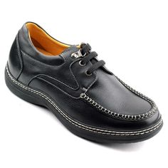 Increasing Height 2.34 Inch Black Burnished Leather Men'S Casual Shoes Get Taller 6 Cm