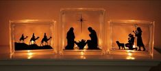 Nativity silhouette vinyl stickers + glass blocks. Isn't it beautiful!?