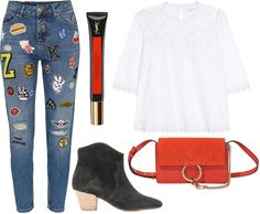 Sunday's Cravings: Patched up boyfriend jeans, YSL Fusion Ink Blush and Chloé Faye bag in spicy orange, white lace top, Isabel Marant Dicker Boots - teetharejade.com