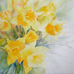 Watercolor daffodils by Ruth S Harris Watercolour Painting, Watercolor Flowers, Painting Prints, Art Prints, Watercolors, Art Floral, Floral Motif, Yellow Canvas Art, Art Aquarelle