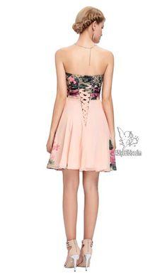 kısa abiye strapless çiçek desen ,kısa,abiye elbise,ucuz abiye,mezuniyet elbisesi,online abiye