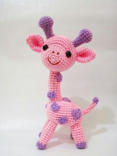 Gigi the Giraffe amigurumi crochet pattern by Sweet N' Cute Creations Giraffe Toy, Pink Giraffe, Giraffe Pattern, Cute Crochet, Crochet For Kids, Crochet Dolls, Crochet Baby, Amigurumi Patterns, Giraffes