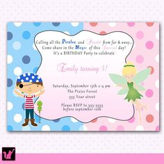 pixies and pirates birthday party invitation - Google Search