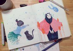 del cuaderno a la calle abril, dia 01 Daniela Arias www.daniela-arias.com.ar  mi cuaderno de bocetos es raíz y principio, intimidad y libertad.