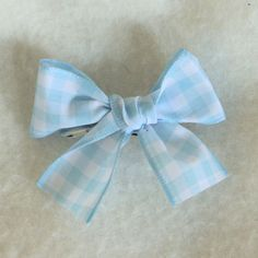 Blue Gingham Hair Bow