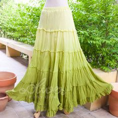 Tiered Skirt, Maxi Cotton Skirt in Green, Turquoise Blue, Black, White, Violet, Orange, Pink