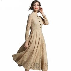 97dee11b70e European Style New Fashion Hollow Out Sexy Stand Lace Long Dress Women  Casual Slim Elegant Party Office Dresses.