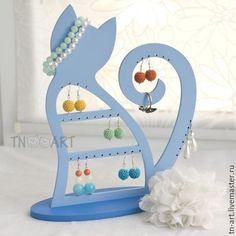 Купить Подставка для украшений Кошечка Pro голубая - подставка для украшений, подставка для сережек, стенд для бижутерии