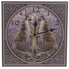 Bilderuhr Wölfe mit dem Baum des Lebens WANDUHR 30cm LISA PARKER UHR Fantasy NEU