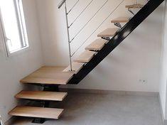 Escalier avec limon central et garde-coprs inox