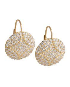 Aladdin Large 18k Pave Diamond Disc Earrings, 2.24 TCW