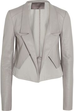 Halston Heritage | Cropped leather and twill jacket | NET-A-PORTER.COM
