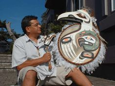 ''Older..''Spirit Raven/Eagle Drum Sculpture with carved Drum Baton'' by George Hunt Jr
