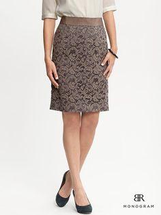 #fallfaves Banana Republic Monogram Lace Pencil Skirt in Fairview Taupe. $110. @Brent Hannah Republic