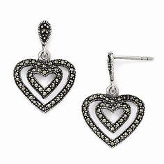 Sterling Silver Marcasite Heart Dangle Post Earrings