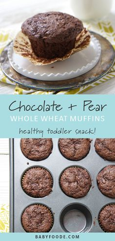These chocolate and pear whole wheat muffins are amazing! They are so easy to make, and filled with healthy, whole food ingredients - you can't help but feel great feeding this to your toddler or big kid for breakfast, and afternoon treat, or an on the go Baby Food Recipes, Gourmet Recipes, Whole Food Recipes, Dessert Recipes, Cooking Recipes, Pear Recipes For Toddlers, Recipes With Pears, Healthy Toddler Snacks, Toddler Meals