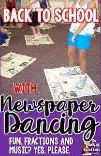 Back to School with Newspaper Dancing – A great idea to a first day icebreaker or anytime fun!  Use music, movement, fractions and fun to get students smiling and dancing.  Supplies are easy! Music and newspapers. A playlist and more ideas for dancing and movement for music class or the regular classroom are included.