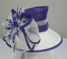 Purple / White Sinamay Ladies Hats Big Sinamay Bow And Fether Trim