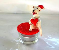 CuteArt / With all of my heart...  ...a gift box or a tea candle holder with the statuette of cute white bullie...also can portraying your pet...just will need it´s photo...