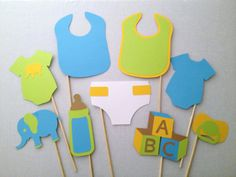 Baby Shower Prop Set  9 Pieces  Baby Shower Photo by CleverMarten, $18.00