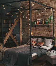 Brick wall loft room with industrial footprint 😍. - Pinuhouse- Quarto de loft com parede de tijolinhos e pegada industrial 😍. Fonte: – Pinuhouse Brick wall loft room with footprint - Bohemian Bedroom Decor, Bohemian House, Industrial Bedroom Decor, Boho, Dream Rooms, Dream Bedroom, Steampunk Bedroom, Steampunk Interior, Steampunk Home Decor