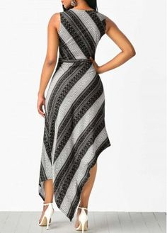 Sleeveless V Neck Printed Asymmetric Hem Dress. Women's Fashion Dresses, Sexy Dresses, Cute Dresses, Casual Dresses, Dresses Dresses, Cheap Dresses, Elegant Dresses, African Wear, African Dress