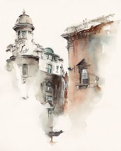 Architectural sketches 371687775477772821 - architecture 2 by Sunga Park, via Behance – – Travel Journal – Watercolour – Art – Sketch – Architecture – Mysterious Painting, at the corner of a Street. Watercolor City, Watercolor Sketch, Watercolor Landscape, Watercolour Painting, Watercolours, Watercolor Architecture, Architecture Drawings, Drawings Of Buildings, Buildings Artwork
