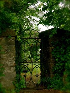 An old garden gate in an old stone wall...I like the iron work detail