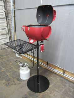 Itty Bitty Grill- upcycled propane tank outdoor mini barbecue grill- propane by BLOXfabrications on Etsy https://www.etsy.com/listing/176000145/itty-bitty-grill-upcycled-propane-tank