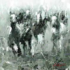 GREENY HORSES Digital Art, Painting, Abstract Artwork, Art, Digital Painting, Abstract, Color