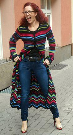 Crochet Patterns Coat Ravelry: Crochet coat Maxi Psychedelic pattern by Fashion Martina Crochet Coat, Crochet Cardigan Pattern, Crochet Jacket, Crochet Clothes, Crochet Patterns, Sewing Patterns, Coat Patterns, Clothing Patterns, Skirt Patterns
