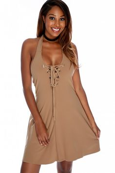 Sexy Camel Halter Strap V-Neckline Lace Up Detailing Sleeveless Casual Dress