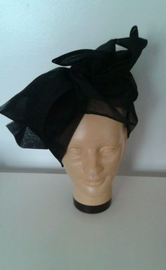 0ff5e0d20d9 Vintage 1950 s Miss Dior Black Chiffon Big Bow Hat