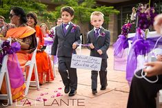 J. La Plante Photo | Denver Wedding Photography | Wildlife Experience wedding | Ring bearers with sign