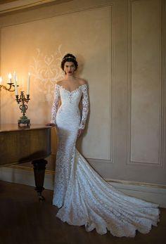 #Graceful Off the Shoulder V Neck Crystal Detailling Lace #Wedding #Dress with Long Sleeves