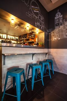 Melange restaurant is a project designed by In Arch in covers an area of 140 sqm and is located in London, UK Bar Stools, Arch, London, Table, Furniture, Design, Home Decor, Store, Ideas