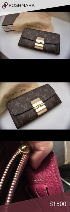 Louis Vuitton Elysee Bordeaux Wallet Pre-owned, but in excellent condition **authentic** Louis Vuitton Elysee wallet. Comes with original dust bag, and box with barcode and item number. Very lovely wallet with burgundy lining, some signs of wear on the leather where the front clasp is but other than that it's still in excellent condition. Accepting ️️, discounted on there, deeeepop and 3️⃣bay 19 x 11 x 1 cm  (Length x Height x Width) Louis Vuitton Bags Wallets