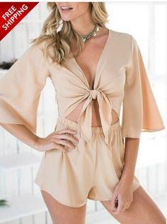 Beige Knot Front Lace Back Half Sleeve Romper Playsuit #ustrendy www.ustrendy.com