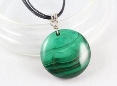 Malachite Pendant, Sterling Silver, Gemstone Pendant, Simply Stoned, Yoga Style, Yoga Gift, Healing Necklace, Unisex, Malachite Necklace