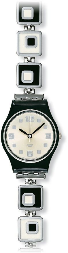 Swatch Women's LB160G Black Stainless-Steel Swiss Quartz Watch with White Dial, (watches, casual watch, swatch, swatch watch, women)